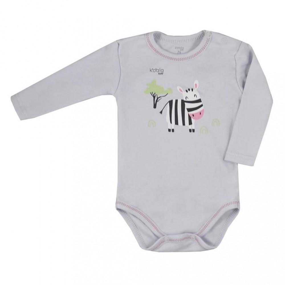 Dojčenské body s dlhým rukávom Koala Happy Baby sivé