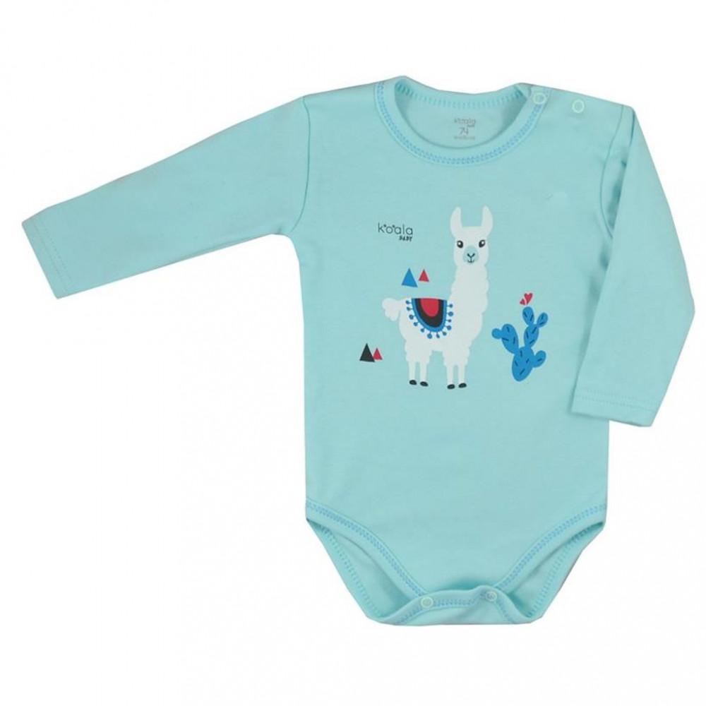 Dojčenské body s dlhým rukávom Koala Happy Baby tyrkysové