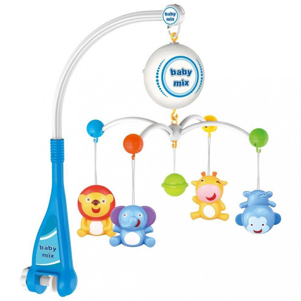 Elektrický kolotoč nad postieľku Baby Mix zvieratká multicolor