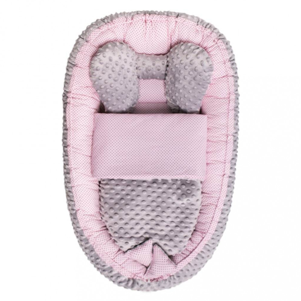 Hniezdočko s perinkou pre bábätko Minky Sweet Baby Belisima ružové