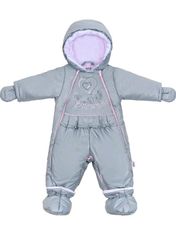 8d0d9d1aa Luxusná zimná kombinéza s podšívkou New Baby Dreams sivo-ružová ...