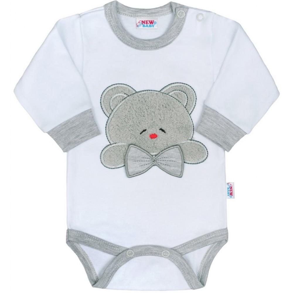 Luxusné dojčenské body s dlhým rukávom New Baby Honey Bear s 3D aplikáciou biela