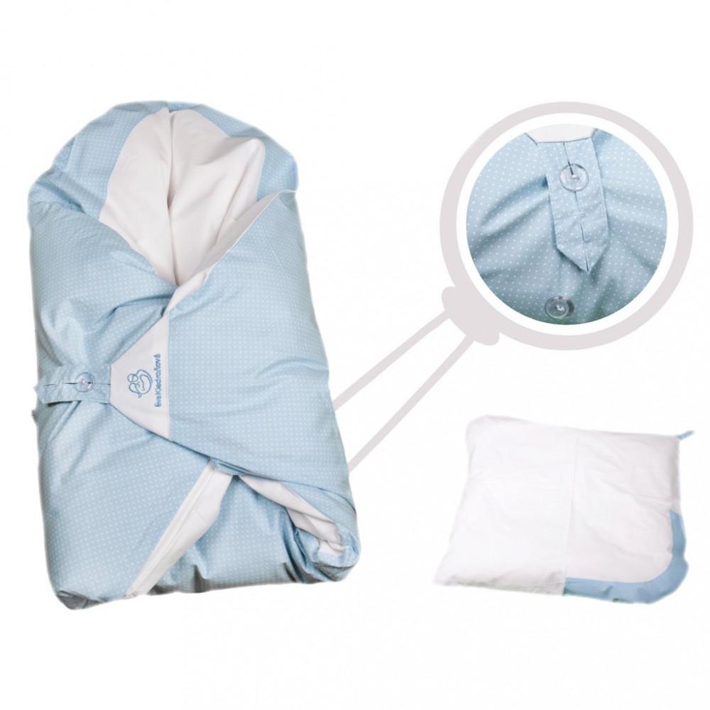 Obliečka modrá s bodkami na zavinovačku Dráčik