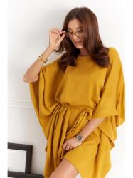 Úpletové oversize šaty 0406 horčicové