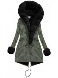 Bavlnená párka khaki - čierna (K725)