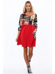 Bavlnené šaty s komiksovou potlačou červené 2211