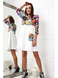 Bavlnené šaty s potlačou biele 2209
