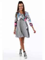 Bavlnené šaty s potlačou sivé 2209