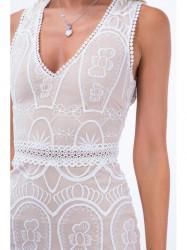 Béžové šaty s hlbokým výstrihom ZZ267
