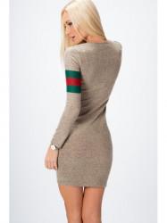 Béžové šaty so zeleno červeným pruhom 6513