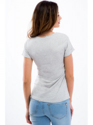 Béžové tričko s korálkami