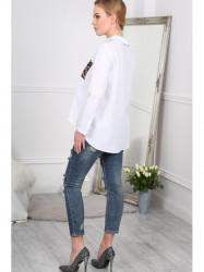 Biela asymetrická košeľa s vreckom BB20740