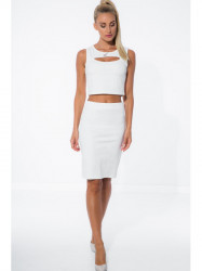 Biela zostava crop topu so sukňou