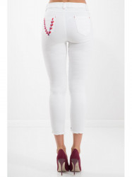 Biele 7/8 jeansy s výšivkou