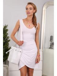 Bielé asymetrické šaty na ramienka
