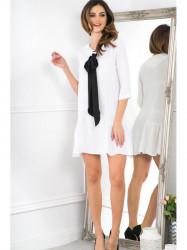 Biele šaty s čiernou mašľou