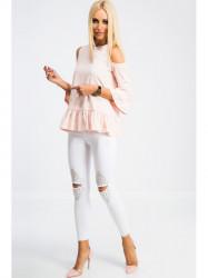 Biele skinny jeans zdobené #2