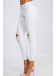 Biele skinny jeans zdobené #3