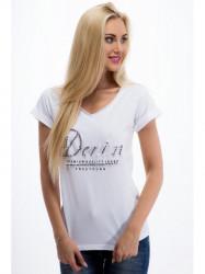 Bielé tričko s korálkami
