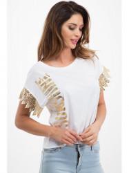 Biele tričko so zlatým  nápisom