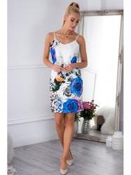Bielo - modré kvietkované šaty 8254