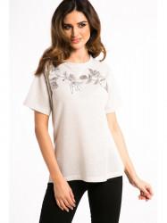 Bielo-zlaté tričko s nášivkami
