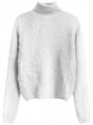 Biely dámsky krátky chlpatý sveter 466ART