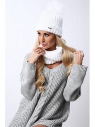 Biely set čiapka + šál C21 #1
