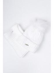 Biely set čiapka + šál C21 #2