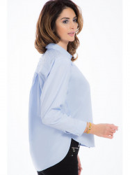 Bledomodrá asymetrická košeľa 21337