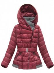 Bordová dámska zimná bunda s opaskom B3563