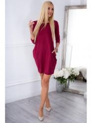 Bordové BASIC šaty s vreckami 9988