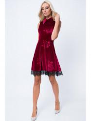 Bordové šaty s golierom MP60285