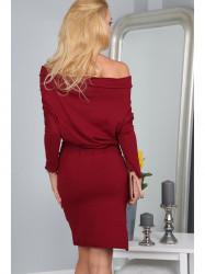 Bordové šaty s odhalenými ramenami 9773