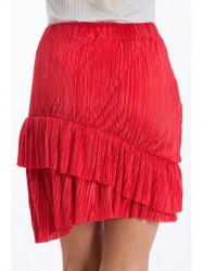 Červená skladaná sukňa