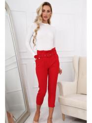 Červené dámske elegantné nohavice 0273