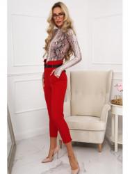 Červené elegantné dámske nohavice 0272