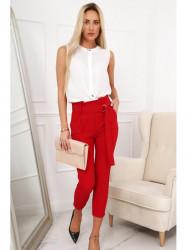 Červené elegantné nohavice 0268