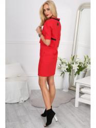 69cf97631619 Červené šaty s ozdobnými vreckami