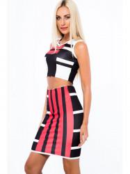 Červeno-čierna súprava pásikovanej sukne a croptopu