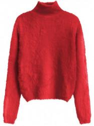 Červený dámsky krátky chlpatý sveter 466ART