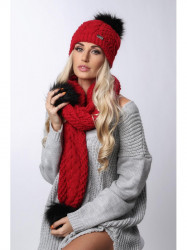 Červený set čiapka + šál C20