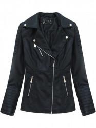 Čierna dámska koženková bunda 5248
