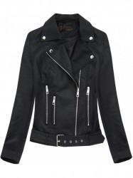 Čierna dámska koženková bunda 5391