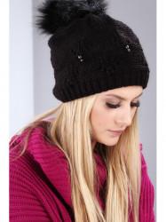 Čierna dámska zimná čiapka C8
