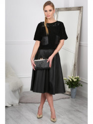 Čierna midi sukňa z eko kože