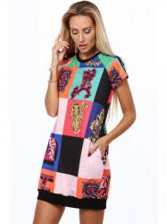 Čierne dámske šaty s farebnými vzormi 2201