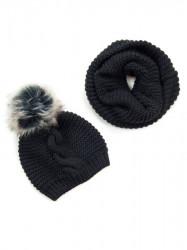 Čierny dámsky set čiapka + šál