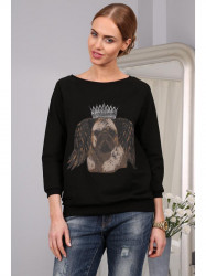 Čierný sveter s psou potlačou