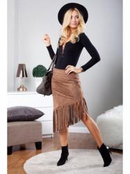 Čokoládová sukňa so strapcami